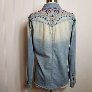 Johnny Was Jean Embroidered Pearl Snap Shirt